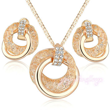 Hot sale Fashion Cubic Zirconia Pendant Chain Necklace and Earrings wire mesh Stardust Jewelry Sets Gift N960