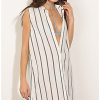 Tops > Sleeveless Stripe Day Top In White