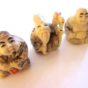 Netsuke Miniature Sculptures With Mythological Figurative Signatures