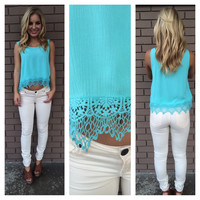 Aqua Summer Breeze Crochet Tank