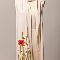 jersey scarf - poppy design screen printed by hand on cream colored cotton fabric - FREE SHIPPING - flytrap