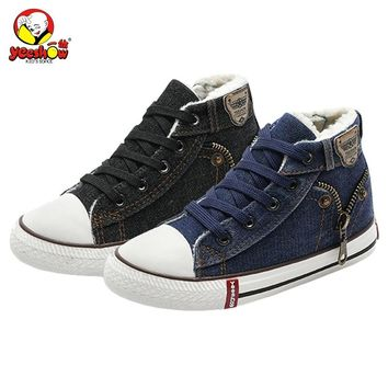 Kids Boots 2018 New Winter Velvet Canvas Children Shoes Sport Breathable Kids Sneakers for Boys Girls Jeans Denim Casual Shoes