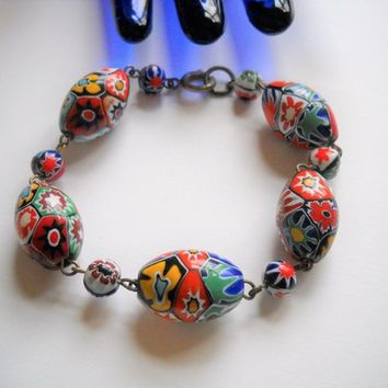 Vintage Bracelet  Murano Venetian Millefiori Glass Millefiori Beaded Bracelet Vintage Brass Wire Colorful Red Blue Yellow Statement Art Deco