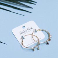 Starry Hoop Earrings, Gold