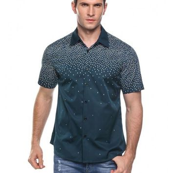 Green Men's Casual Turn Down Collar Short Sleeve Print Button Shirt