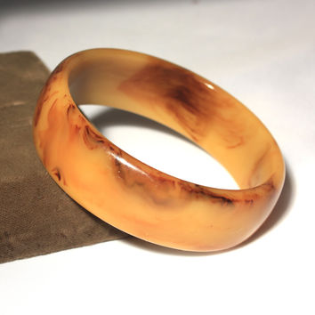 Marbled Butterscotch Bakelite Bangle