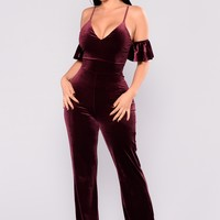 Steal A Kiss Velvet Jumpsuit - Burgundy