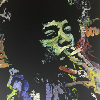 Jimi Hendrix Painting Modern Pop Art Painting 18x24 Canvas Painting Canvas Wall Art Original Painting Boho Chic Decor Ready to Hang Art