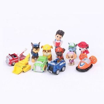 12pcs/set Dog Action Figures Toy Cars Russian Anime Doll Figures Juguetes Toys for Children Kids Christmas Gifts