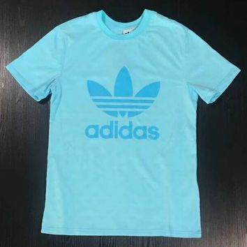 ADIDAS Clover 2018 Summer New Print Small LOGO Couple Short Sleeve T-Shirt F-XMCP-YC blue