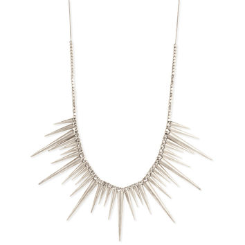 Silver Metal Spike Necklace