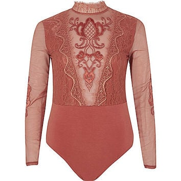 Dark pink lace and mesh high neck bodysuit