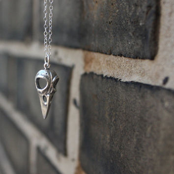 Bird skull necklace - sterling silver bird skull charm . sterling silver chain . bones and skulls . native american style . shaman