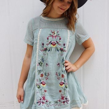 Ice Blue Embroidered Dress