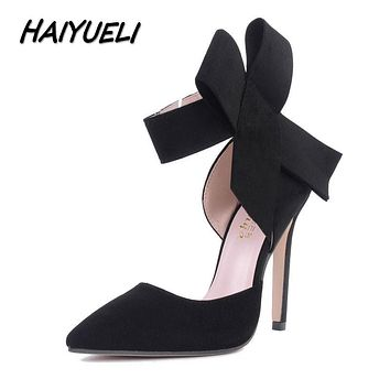 Spring Summer Fashion Big Bow Pointed Toe High Heels Sandals Shoes Woman Wedding Party Pumps Dress hoe