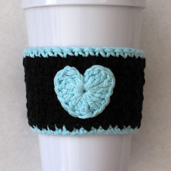 Crochet Black and Robin's Egg Blue Heart Coffee Cozy