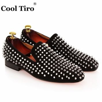 COOL TIRO Handmade Spikes Rivet Mens Loafers Suede Luxury