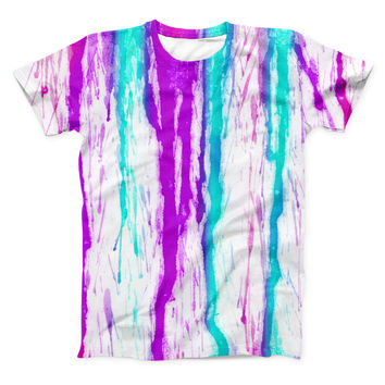 The Running Purple and Teal WaterColor Paint ink-Fuzed Unisex All Over Full-Printed Fitted Tee Shirt