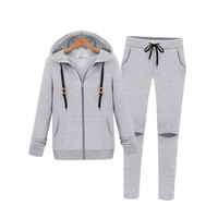 ZLYC Gray Casual Hoodie and Cut-out Sweat Pants Set for Girls