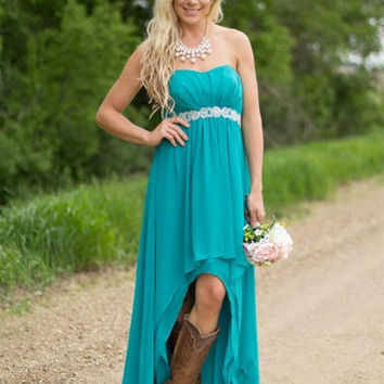 Hi-Lo Prom Dresses,Aqua Blue Prom Dresses,Short Evening Dress