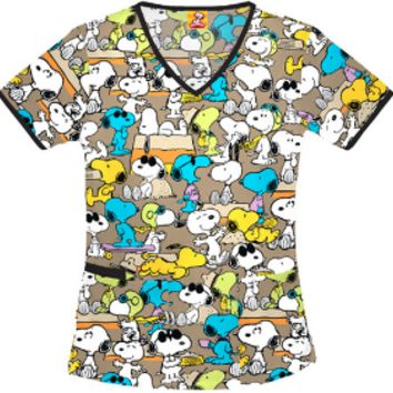 Snoopy Scrub Top For Women - Go Snoopy Scrub Top For Women