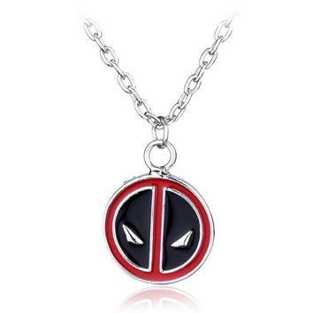 Deadpool Dead pool Taco Marvel   Necklace Personality Red and Black Classic Pendant Vintage Fashion Round Dome Necklaces Jewelry Statement AT_70_6