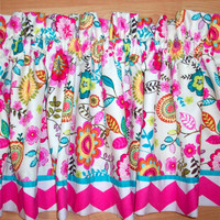 Chevron Valance /LINED Custom Boutique window treatment / Fuschia,Turquoise,lig. pink Curtain -for Kitchen, Bath, Laundry, B.room, L.R. room
