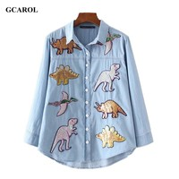 GCAROL 2017 Women Dinosaurs Sequins Patch Denim Shirt Appliques High Quality Bling Bling Blouse Tops For 4 Season