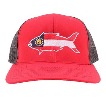 Georgia Flag Snapper Hat in Red and Black by Southern Snap Co.