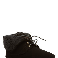Black Faux Nubuck Fold Over Crochet Lace Up Ankle Boots