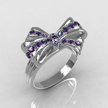 Classic Style 10 Karat White Gold Round Pave Alexandrite Stone Ribbon Ring R92-10KWGAL