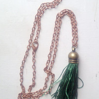 Silk Dark Green Tassel Necklace with 24 inch Copper Chain, Gift Box Included