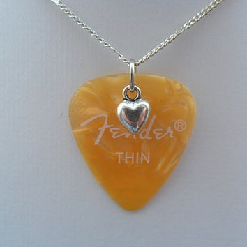 Fender orange guitar pick necklace with heart charm