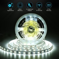 White LED Light Strip, Nexlux 16.4ft 12V Flexible daylight white 300 Units SMD 5630 LED, 6000K ,Non-waterproof 12V LED lights for Home/Kitchen/Bar, UL approved Power Adapter and RF Remote included