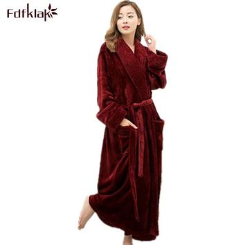 Long Bathrobe Home Wear Clothes Dressing Gown Women's Bathrobe Coat Female Flannel Nightdress Women Warm Bath Robes E1026