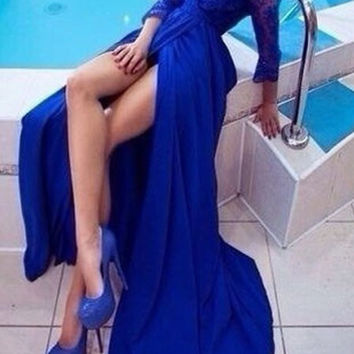 Blue Long Sleeve Maxi Lace Dress