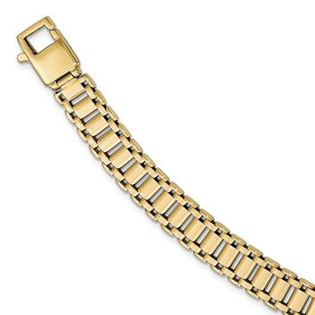 Men's 9mm 14k Yellow Gold Polished Panther Link Bracelet, 8.5 Inch