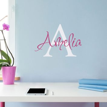 Initial & Name Wall Decal - Girls Name Decal - Initial Wall Sticker - Small (3)