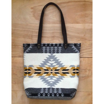 Wool Tote - Leather Canvas Arrow Native Geometric Tribal