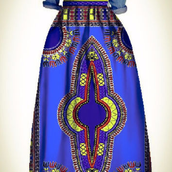 Autumn Night Blue African Dashiki Skirt  (Small-6X)