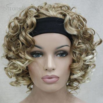 LMFOK5 Blonde/Brown Curly Wigs 3/4 Half Wig With Headband