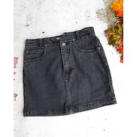 Free People - She's All That Denim Skirt in Black