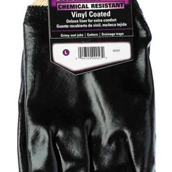 HandMaster® 1670T Heavy-Duty PVC Coated Men's Glove with Knit Wrist, Black,Large