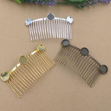 10pc/Lot Cabochon 12mm Hair Tuck Comb Hair Bobby Pin clip,Antique Bronze/Gold/Silver/Black Hairpin DIY Handmade Vintage Jewelry