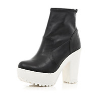 Black two-tone cleated sole platform boots - ankle boots - shoes / boots - women