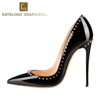Rivets Shoes Woman High Heels Pointed Toe Sexy 12CM Heels Black Patent Leather Ladies Shoes Fashion Wedding Shoes Pumps K-035