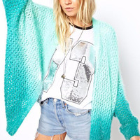 Gradient Color Mohair Long Sleeve Cardigan