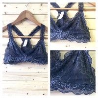 A Lace Racerback Bralette in Charcoal
