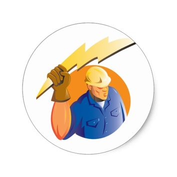 Construction worker electrician lightning bolt classic round sticker