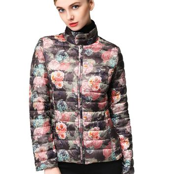Hoffen New Arrivals Women's Duck Down Jacket Stand Collar Slim Fit Floral Print Packable Parkas for Women Winter WJ16W-055